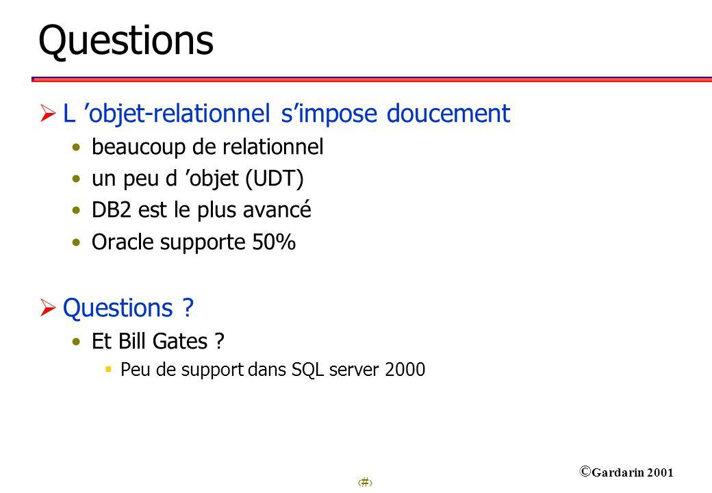 Questions L 'objet-relationnel s'impose doucement Questions