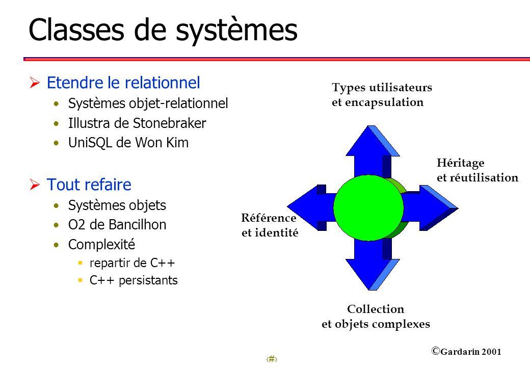 Classes de systèmes Etendre le relationnel Tout refaire