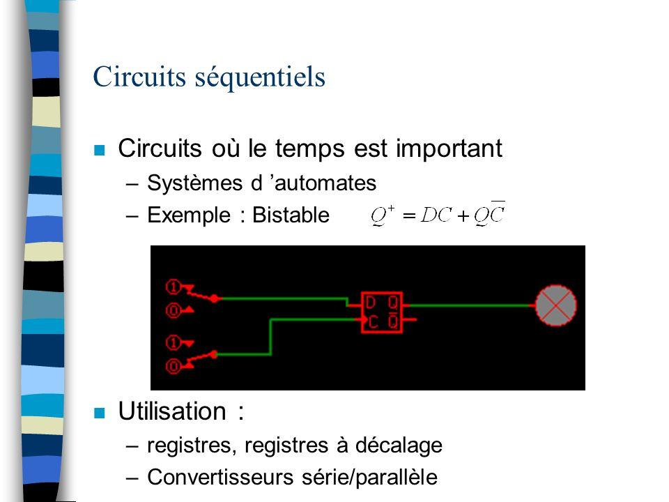 Circuits séquentiels Circuits où le temps est important Utilisation :