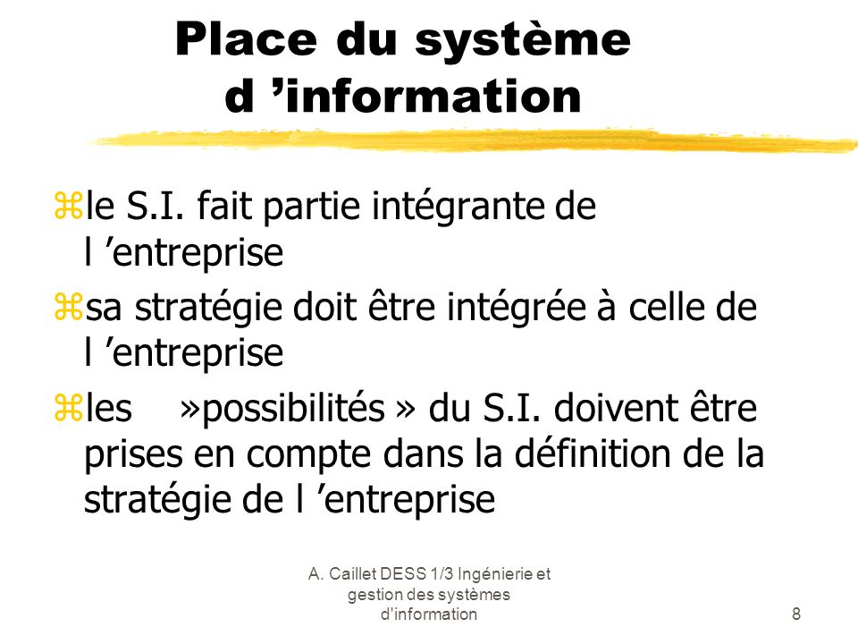 Place du système d 'information