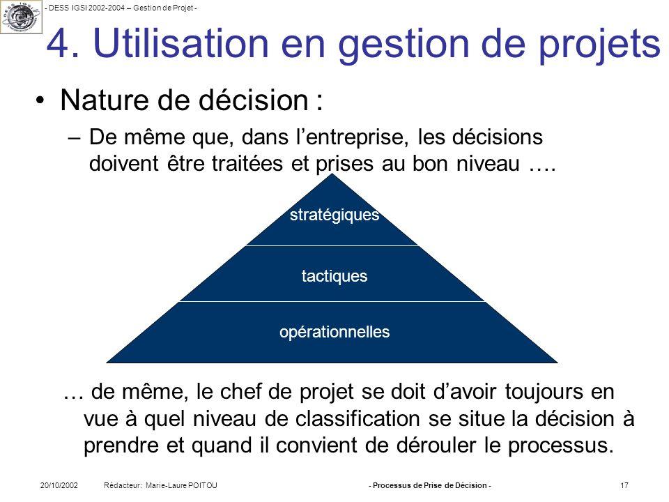 4. Utilisation en gestion de projets