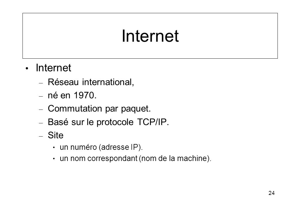 Internet Internet Réseau international, né en 1970.