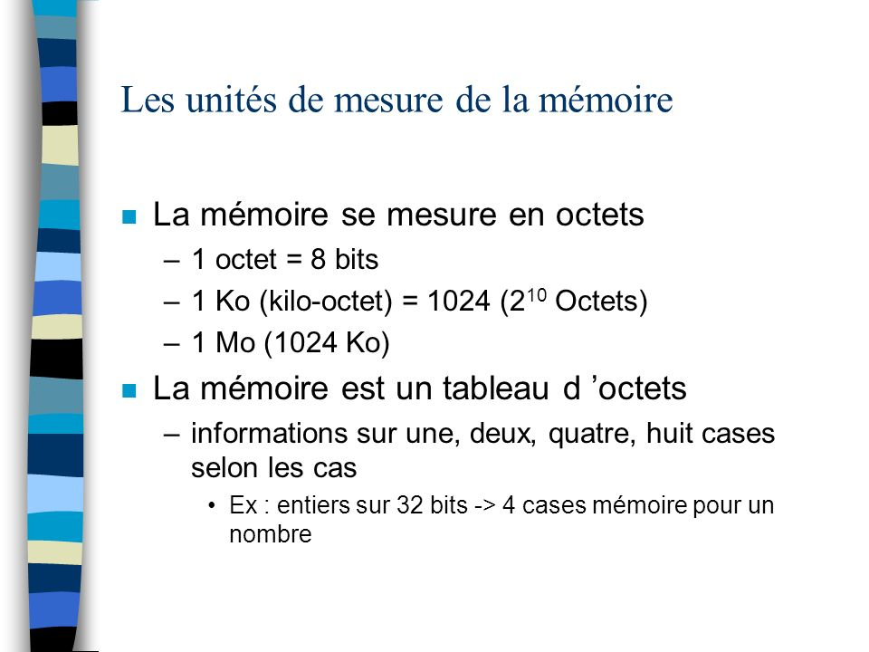 Les unités de mesure de la mémoire