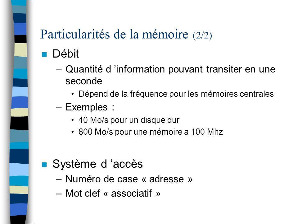 Particularités de la mémoire (2/2)