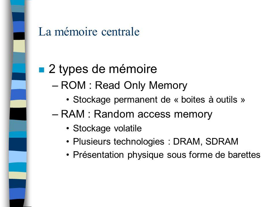 La mémoire centrale 2 types de mémoire ROM : Read Only Memory