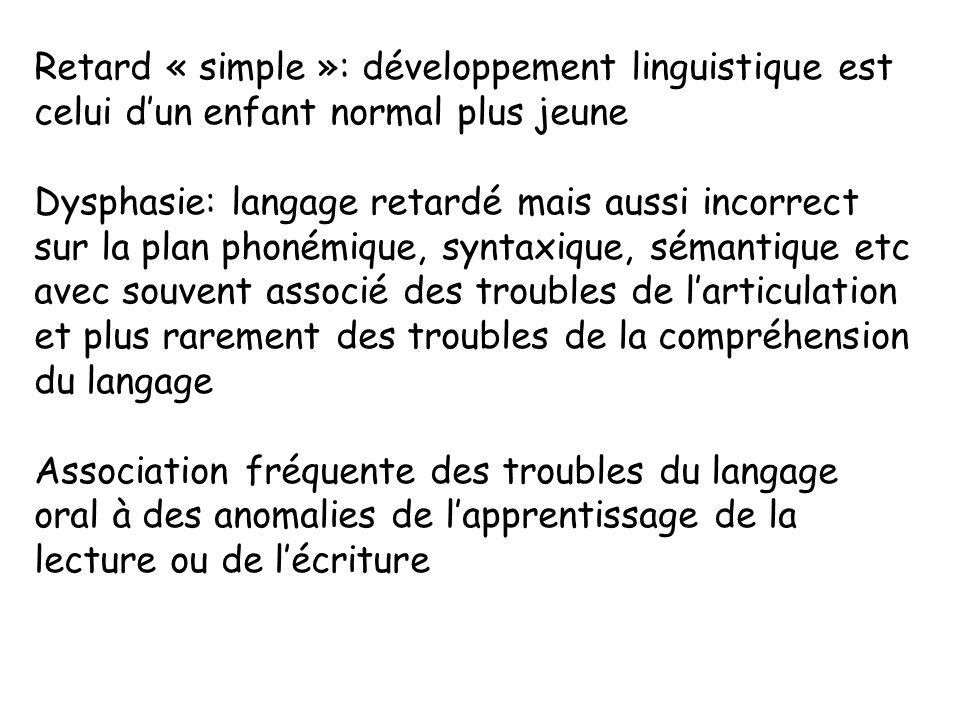 Retard « simple »: développement linguistique est celui d'un enfant normal plus jeune