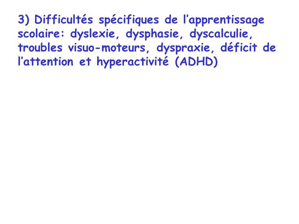 3) Difficultés spécifiques de l'apprentissage scolaire: dyslexie, dysphasie, dyscalculie, troubles visuo-moteurs, dyspraxie, déficit de l'attention et hyperactivité (ADHD)