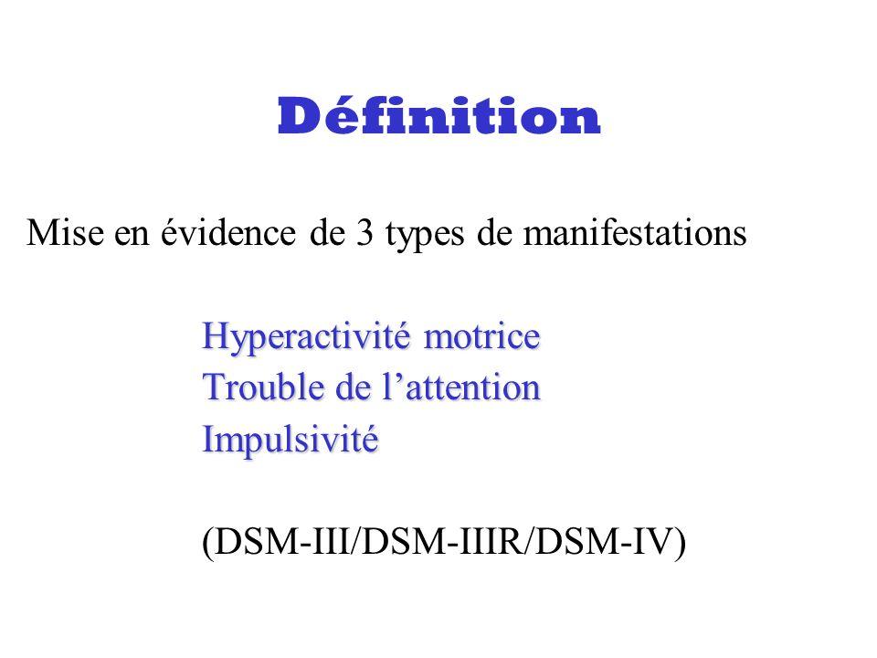 Définition Mise en évidence de 3 types de manifestations