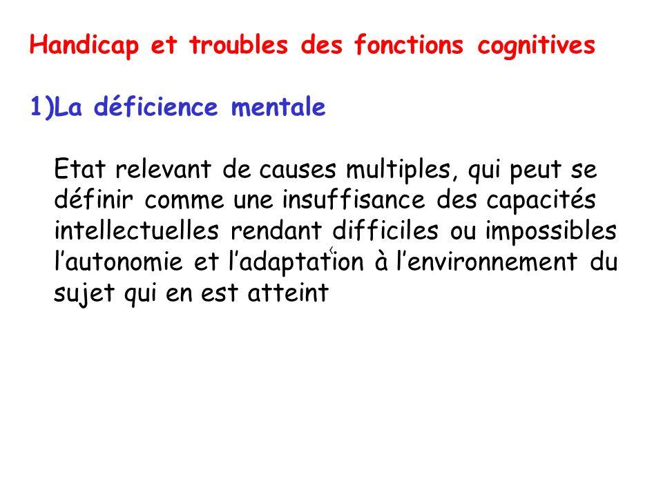 Handicap et troubles des fonctions cognitives La déficience mentale