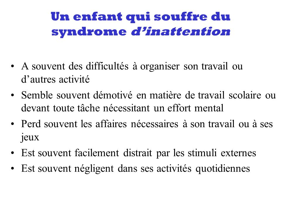 Un enfant qui souffre du syndrome d'inattention