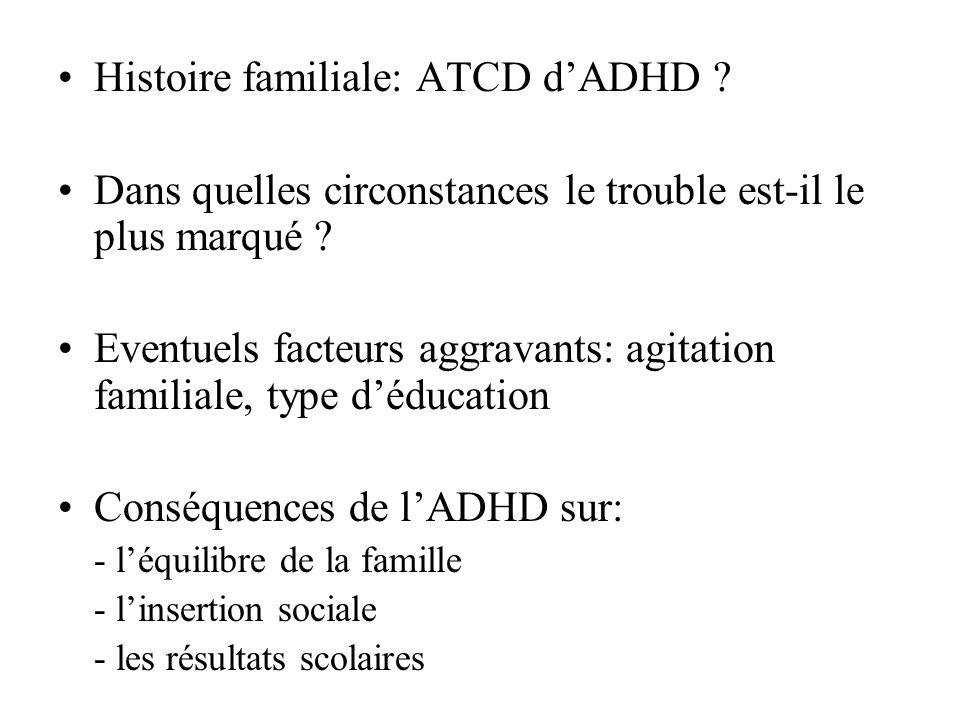 Histoire familiale: ATCD d'ADHD