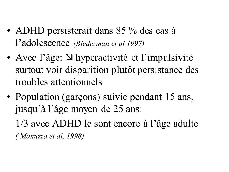 1/3 avec ADHD le sont encore à l'âge adulte