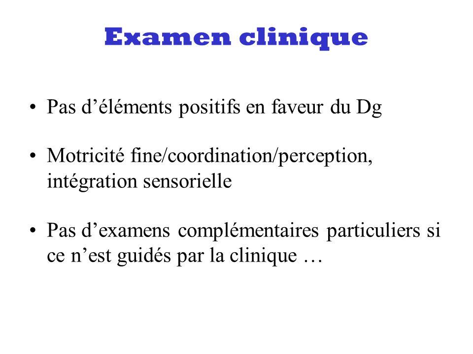 Examen clinique Pas d'éléments positifs en faveur du Dg