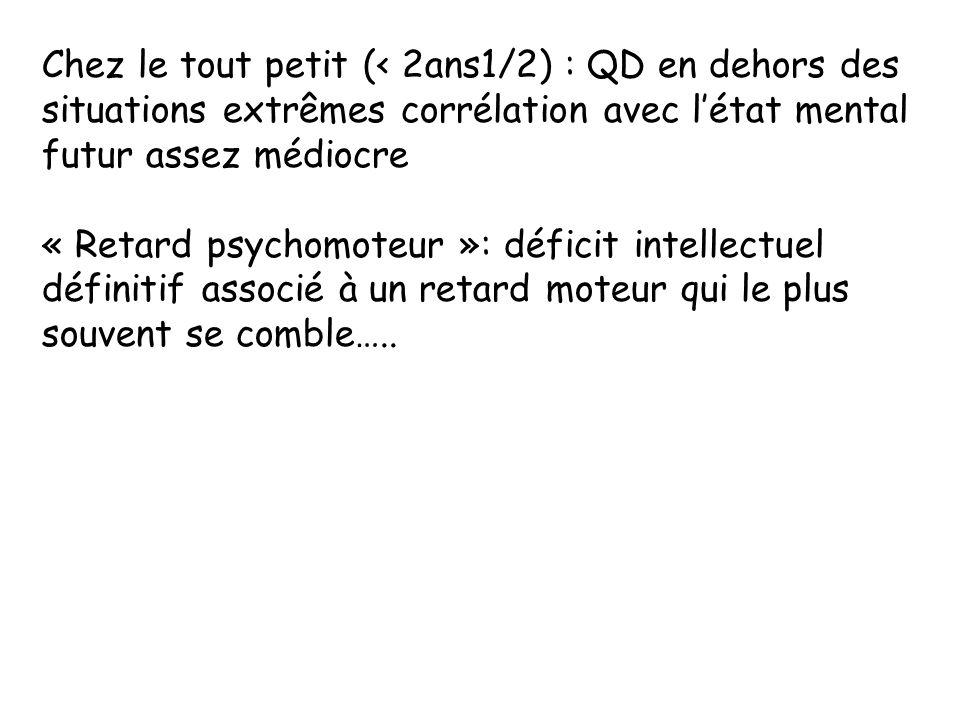 Chez le tout petit (< 2ans1/2) : QD en dehors des situations extrêmes corrélation avec l'état mental futur assez médiocre