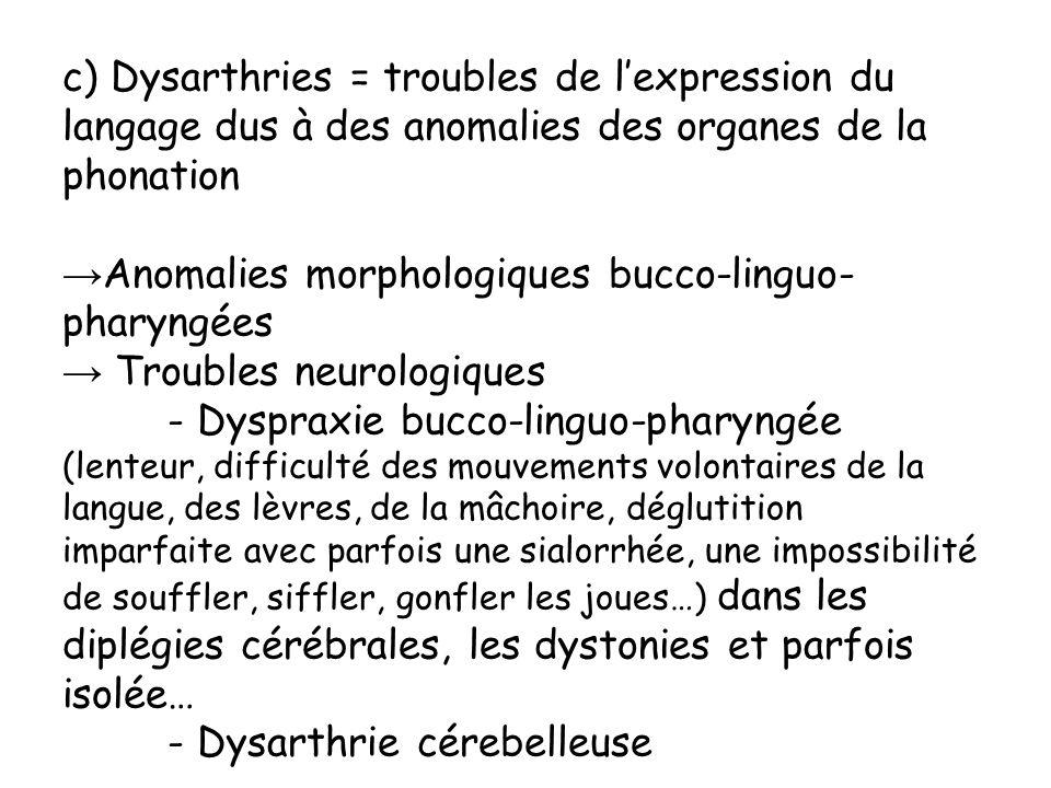 c) Dysarthries = troubles de l'expression du langage dus à des anomalies des organes de la phonation
