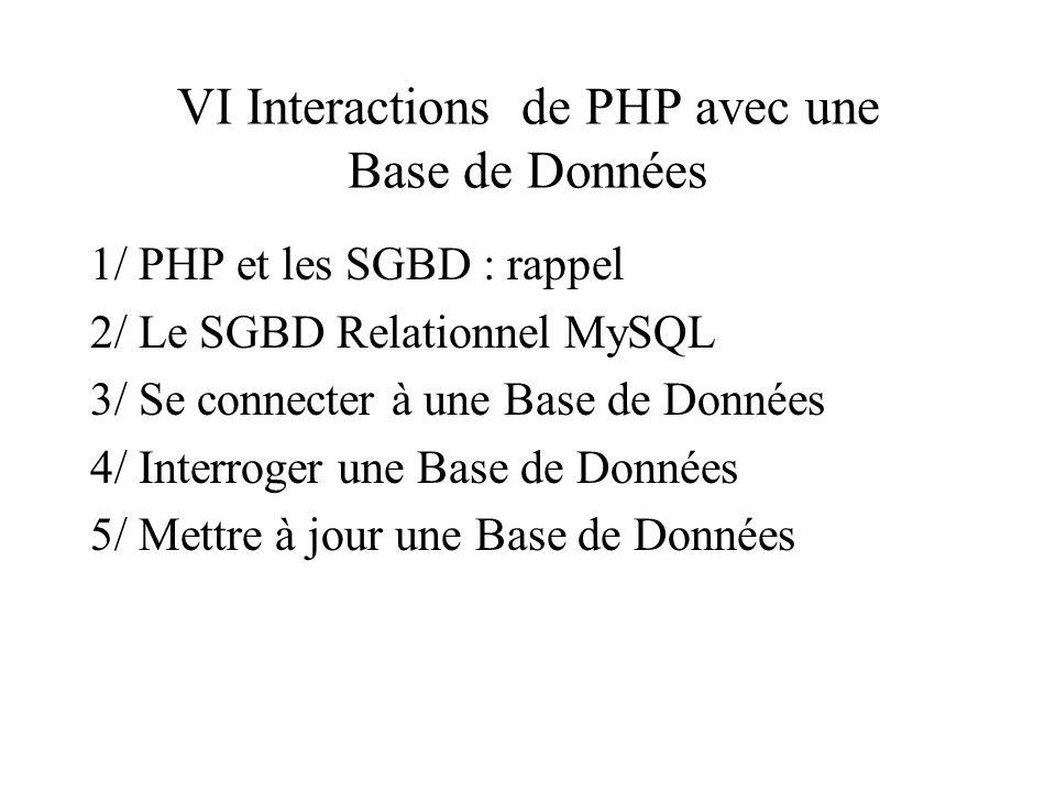 VI Interactions de PHP avec une Base de Données