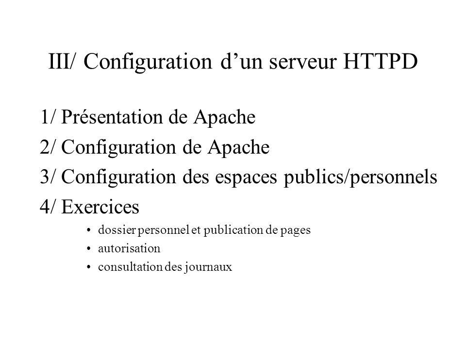 III/ Configuration d'un serveur HTTPD