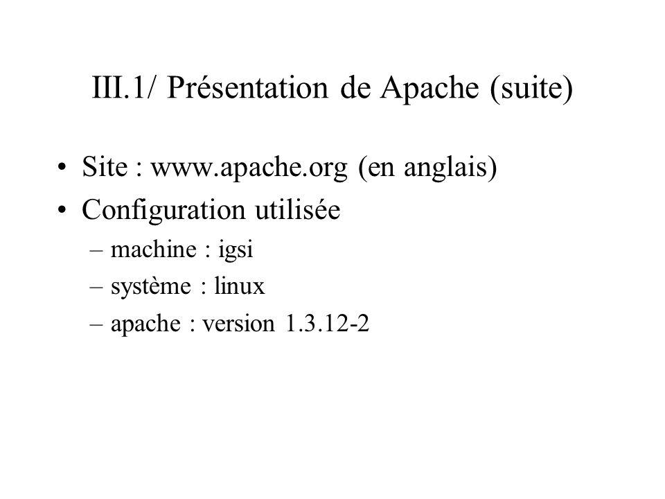 III.1/ Présentation de Apache (suite)