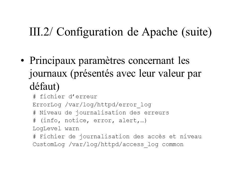 III.2/ Configuration de Apache (suite)
