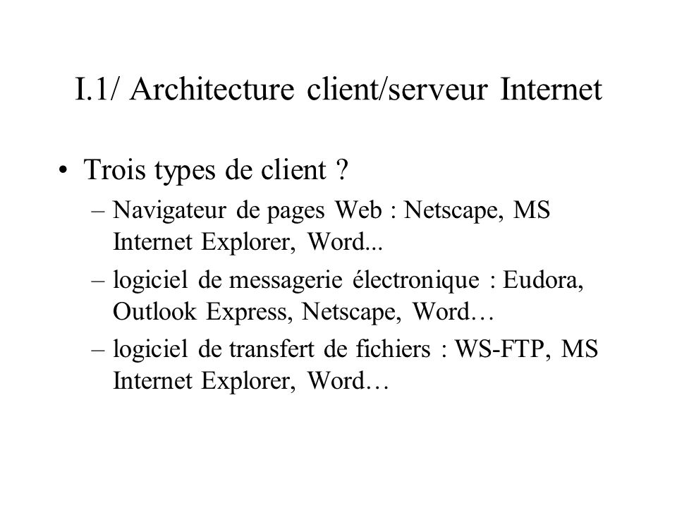 I.1/ Architecture client/serveur Internet