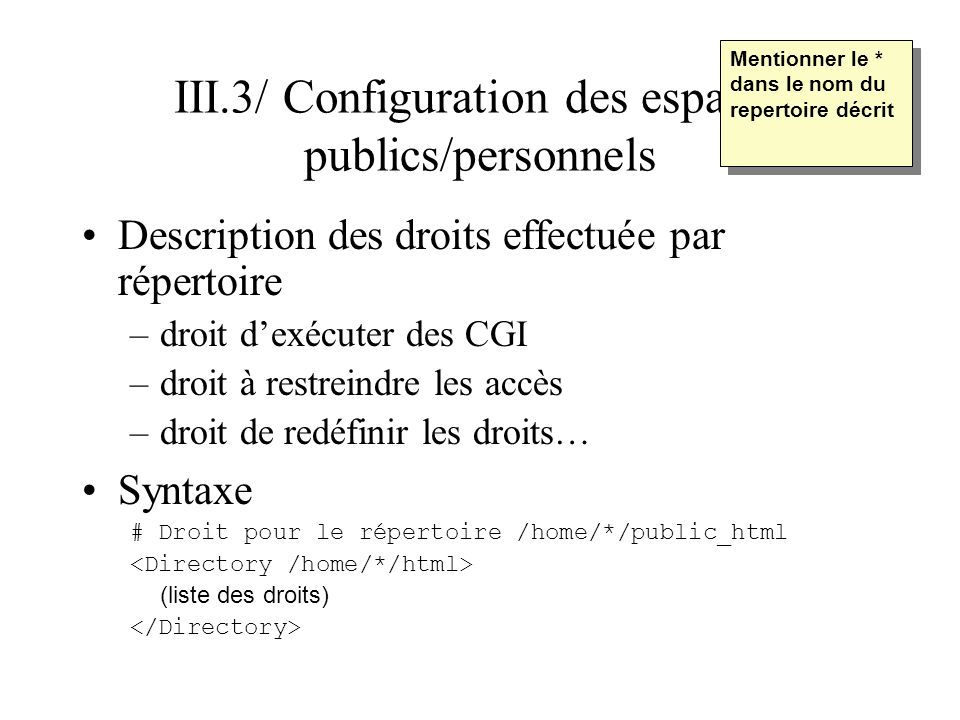 III.3/ Configuration des espaces publics/personnels