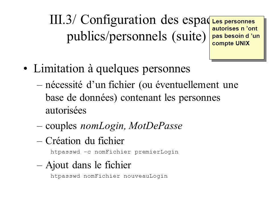 III.3/ Configuration des espaces publics/personnels (suite)