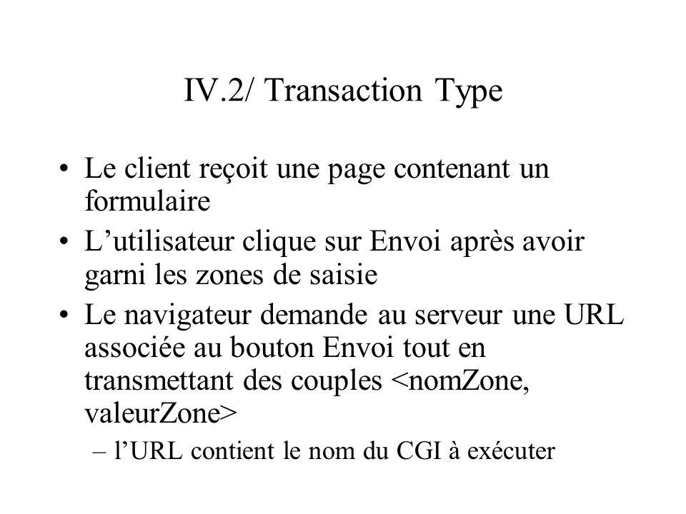 IV.2/ Transaction TypeLe client reçoit une page contenant un formulaire. L'utilisateur clique sur Envoi après avoir garni les zones de saisie.