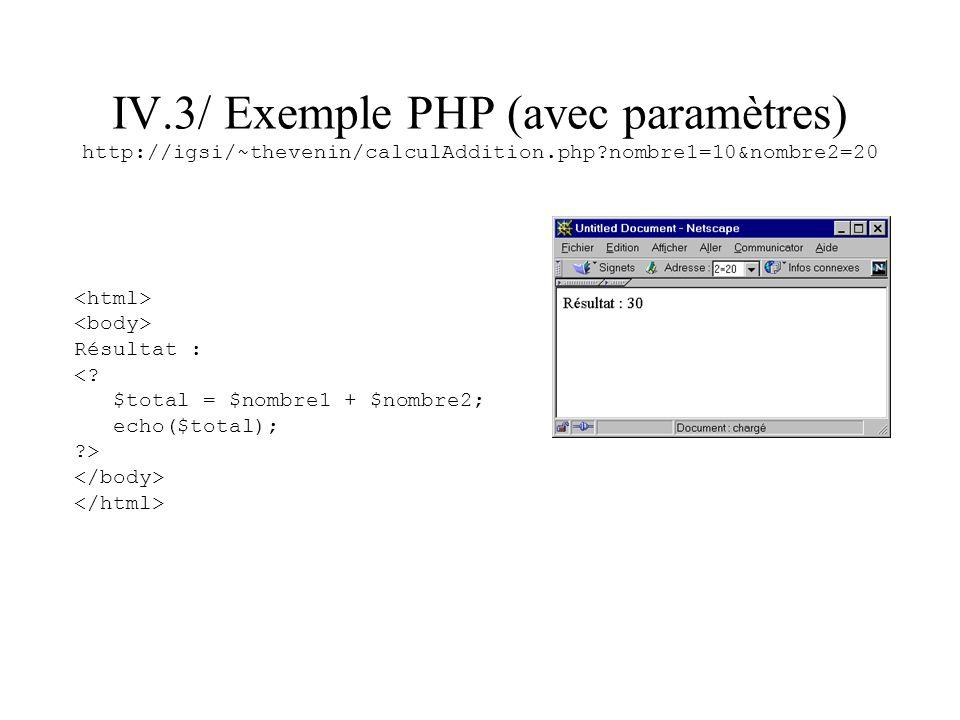 IV.3/ Exemple PHP (avec paramètres) http://igsi/~thevenin/calculAddition.php nombre1=10&nombre2=20