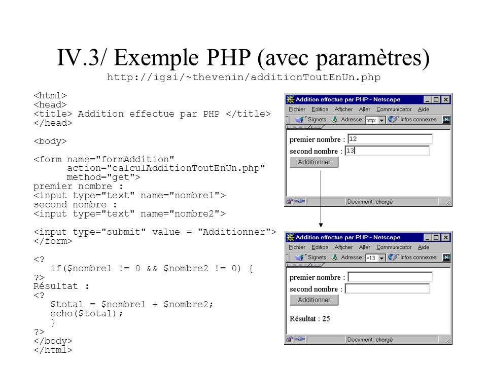 IV.3/ Exemple PHP (avec paramètres) http://igsi/~thevenin/additionToutEnUn.php