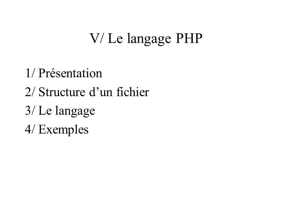 V/ Le langage PHP 1/ Présentation 2/ Structure d'un fichier