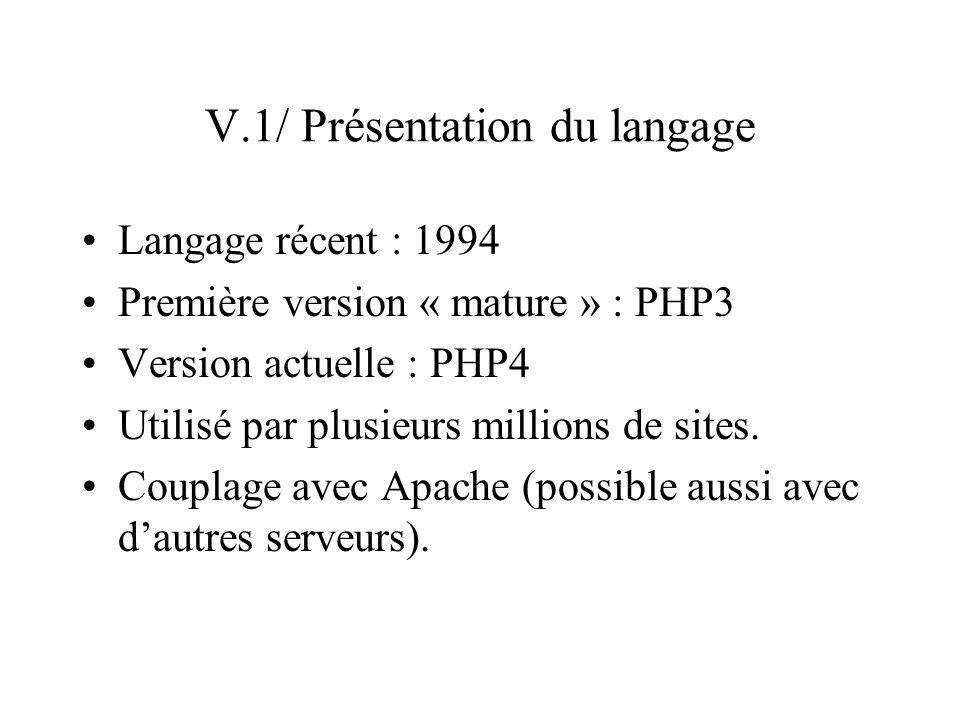 V.1/ Présentation du langage