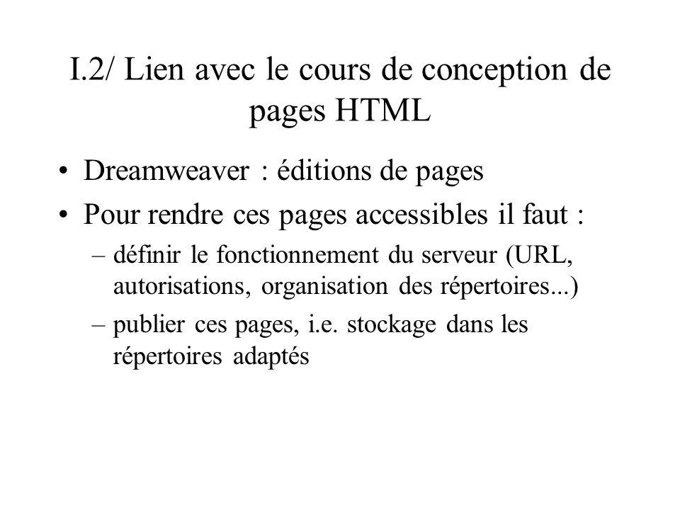 I.2/ Lien avec le cours de conception de pages HTML