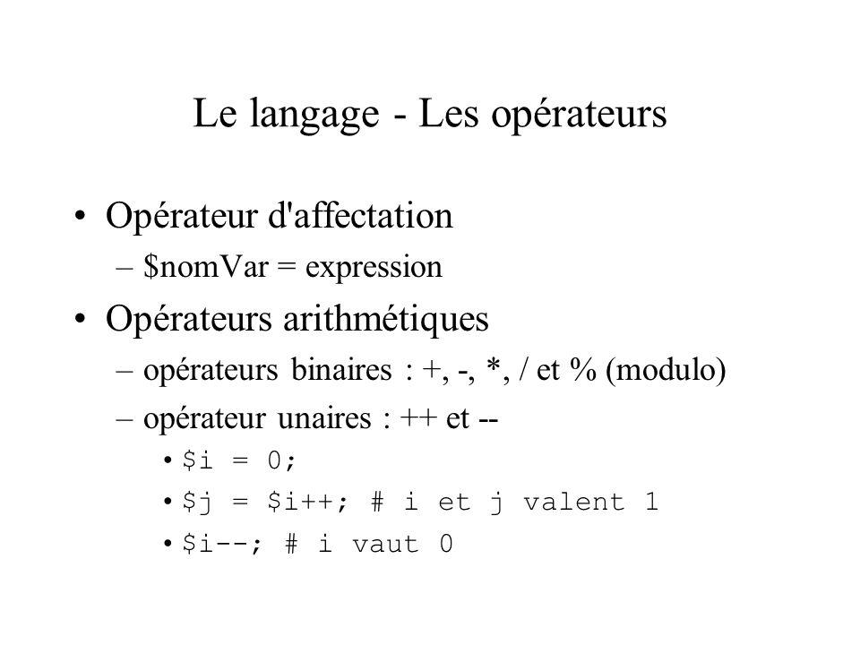 Le langage - Les opérateurs