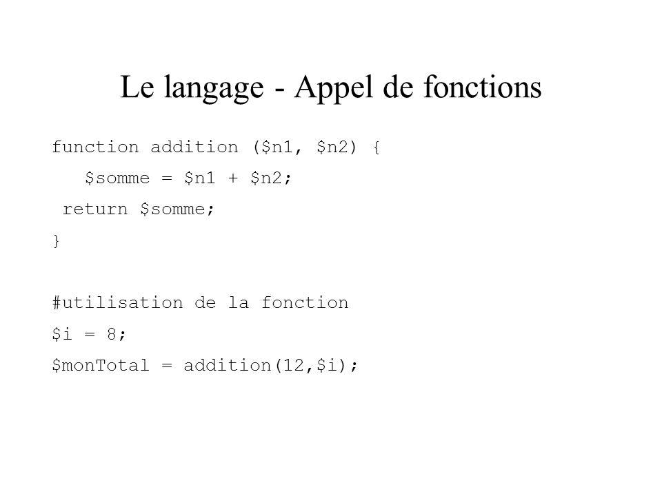 Le langage - Appel de fonctions
