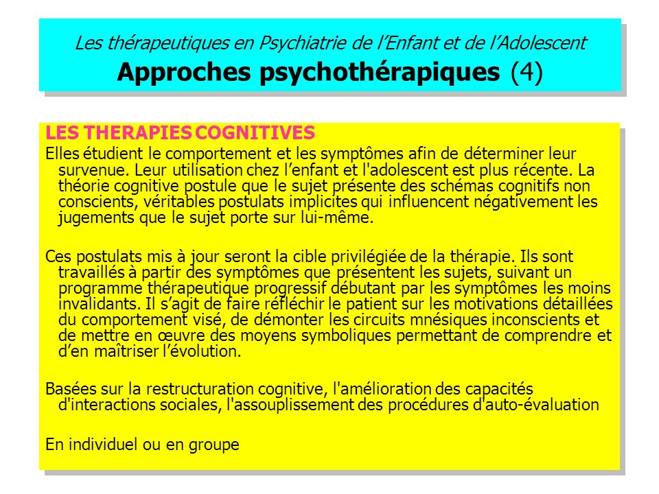 LES THERAPIES COGNITIVES