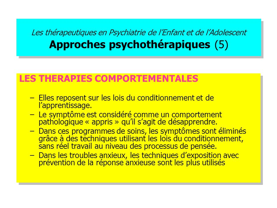 LES THERAPIES COMPORTEMENTALES