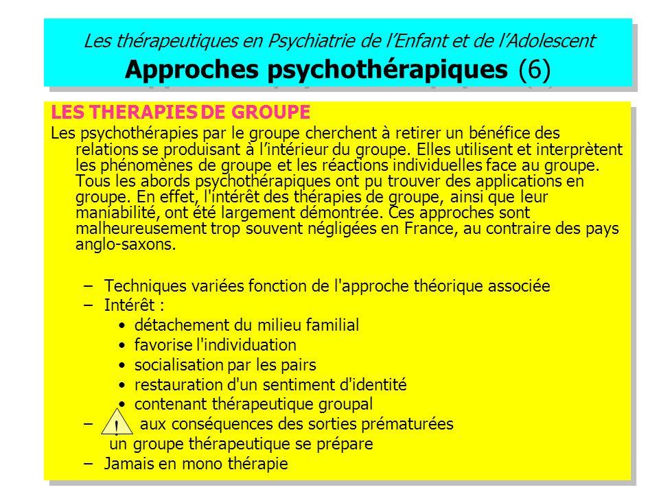 Les thérapeutiques en Psychiatrie de l'Enfant et de l'Adolescent Approches psychothérapiques (6)
