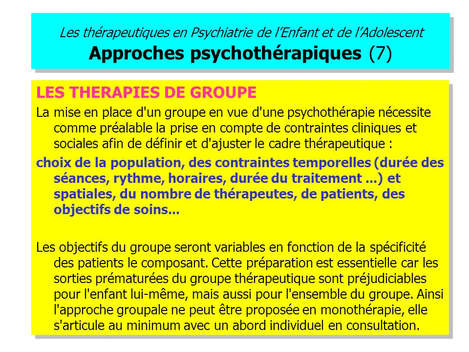 LES THERAPIES DE GROUPE