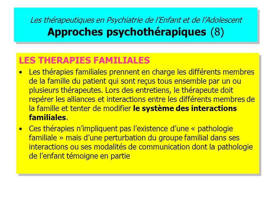 LES THERAPIES FAMILIALES
