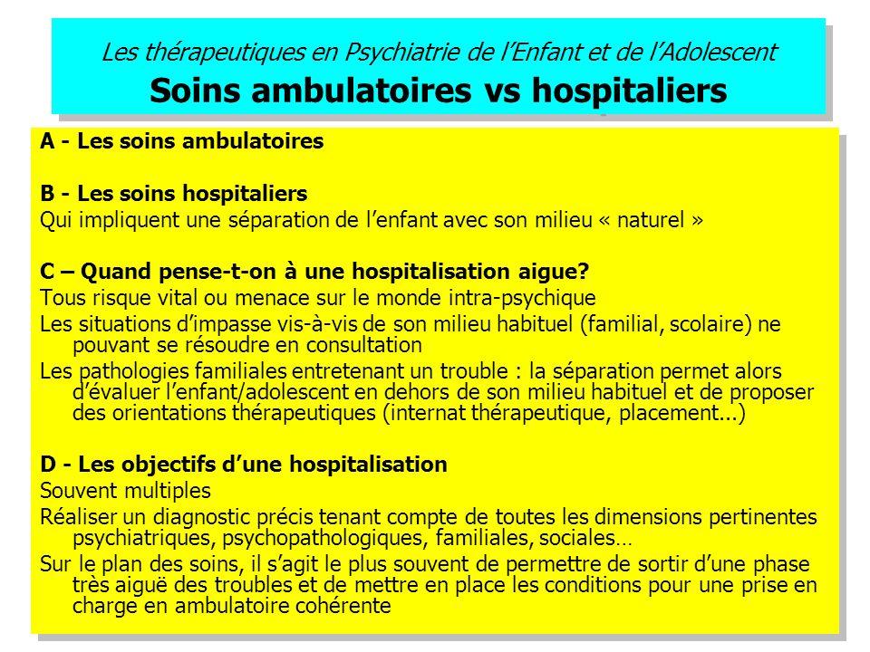 Les thérapeutiques en Psychiatrie de l'Enfant et de l'Adolescent Soins ambulatoires vs hospitaliers