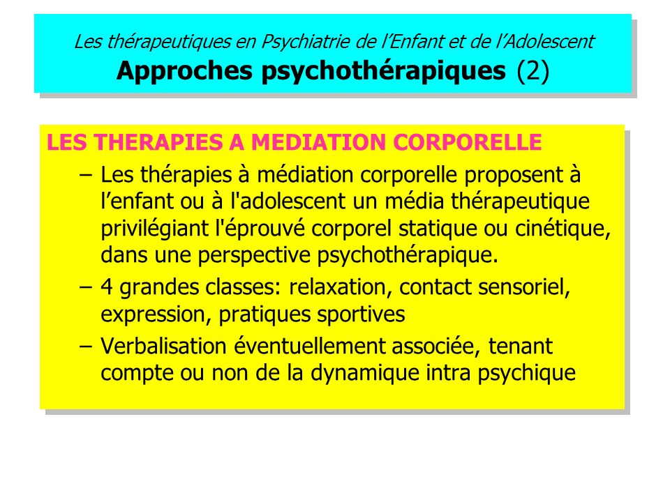 LES THERAPIES A MEDIATION CORPORELLE