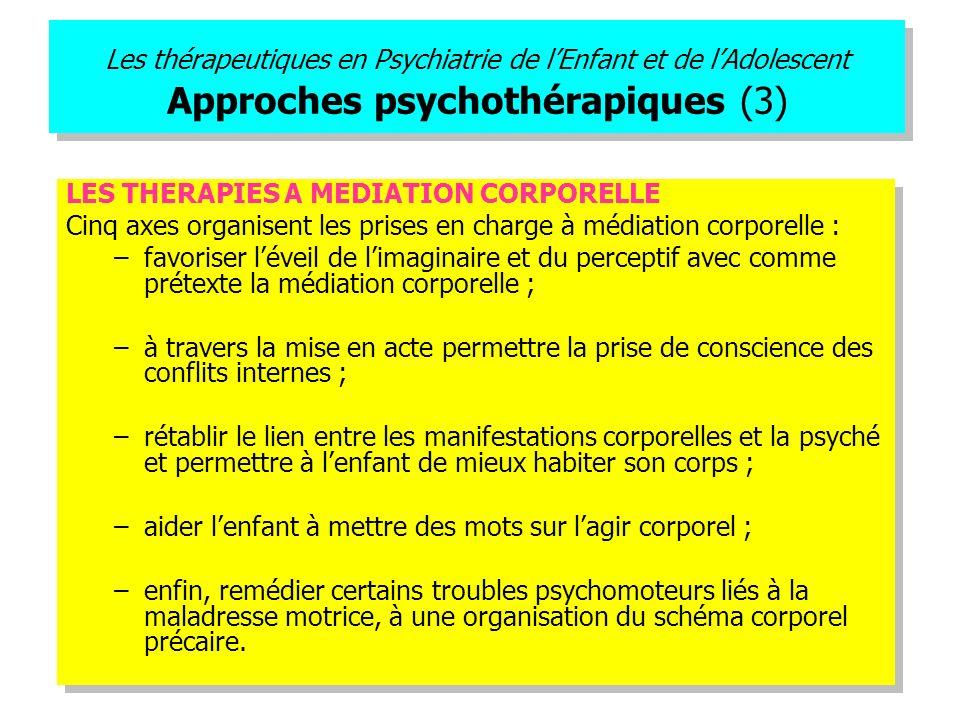 Les thérapeutiques en Psychiatrie de l'Enfant et de l'Adolescent Approches psychothérapiques (3)