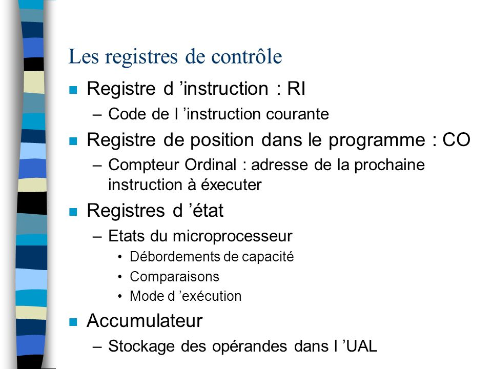 Les registres de contrôle