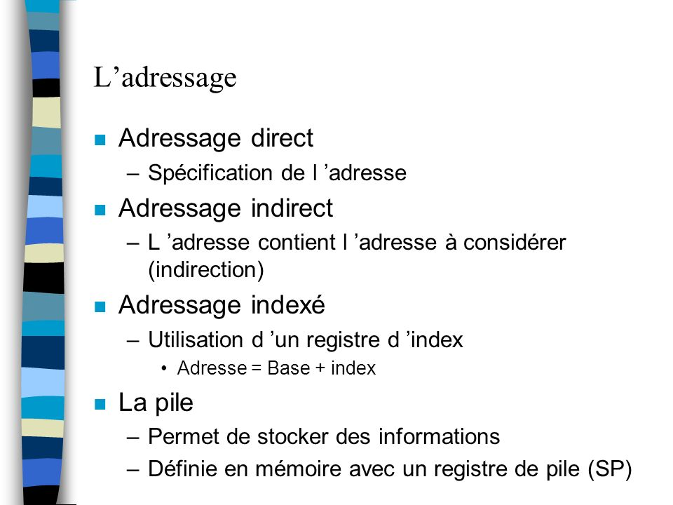 L'adressage Adressage direct Adressage indirect Adressage indexé