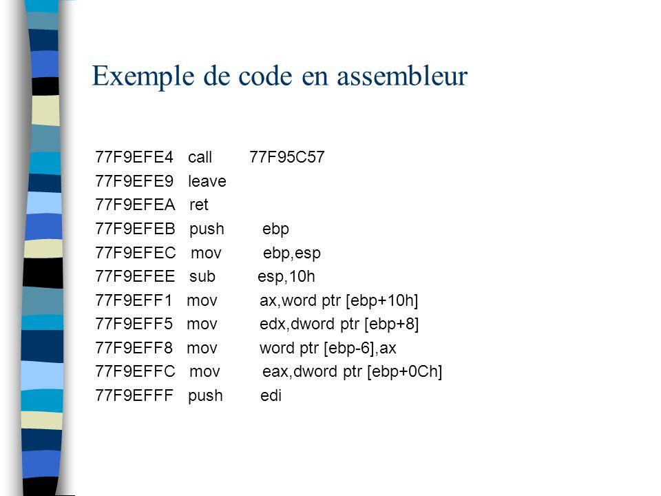 Exemple de code en assembleur