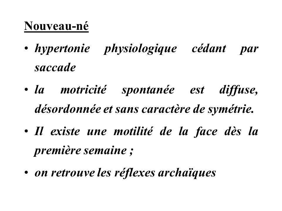 Nouveau-né hypertonie physiologique cédant par saccade. la motricité spontanée est diffuse, désordonnée et sans caractère de symétrie.