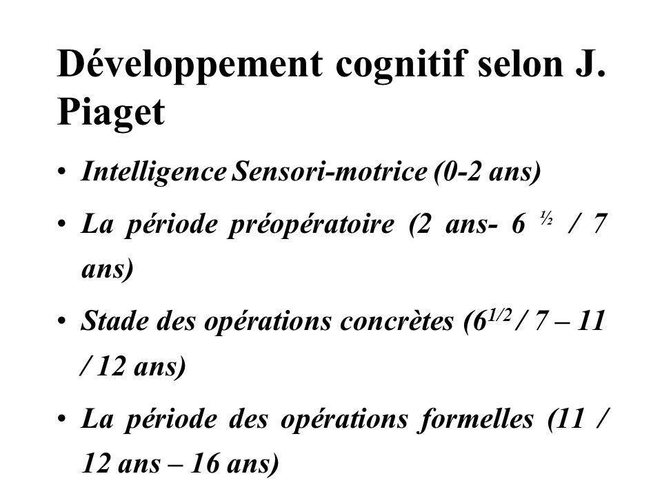 Développement cognitif selon J. Piaget