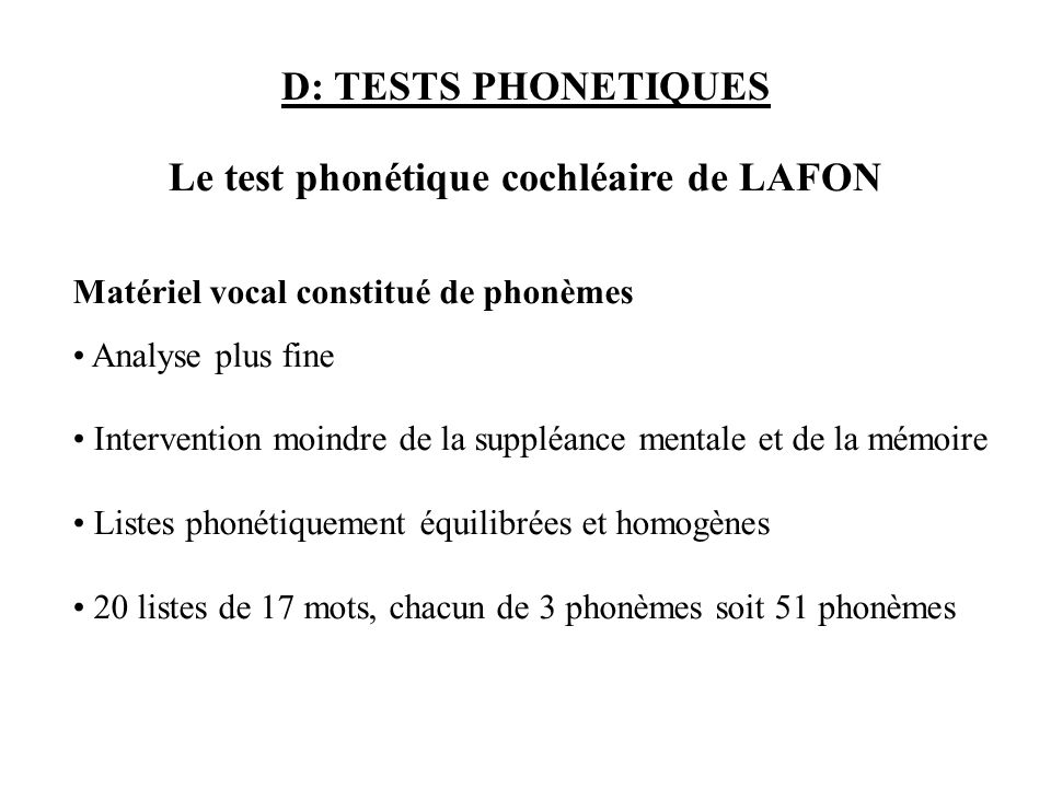 Le test phonétique cochléaire de LAFON