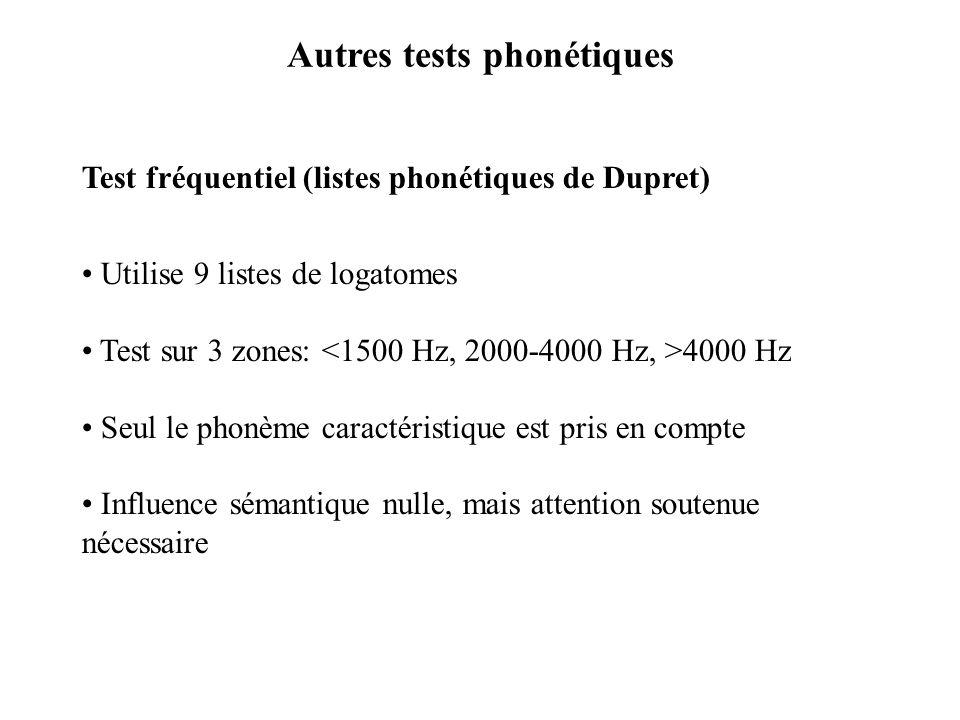 Autres tests phonétiques