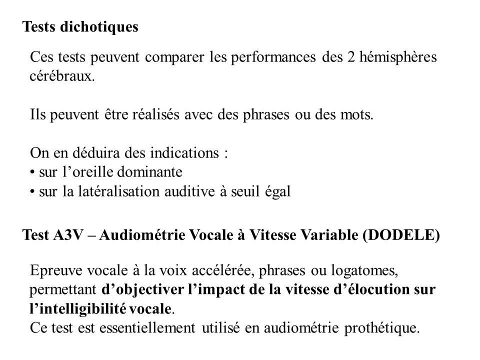 Tests dichotiques Ces tests peuvent comparer les performances des 2 hémisphères cérébraux. Ils peuvent être réalisés avec des phrases ou des mots.